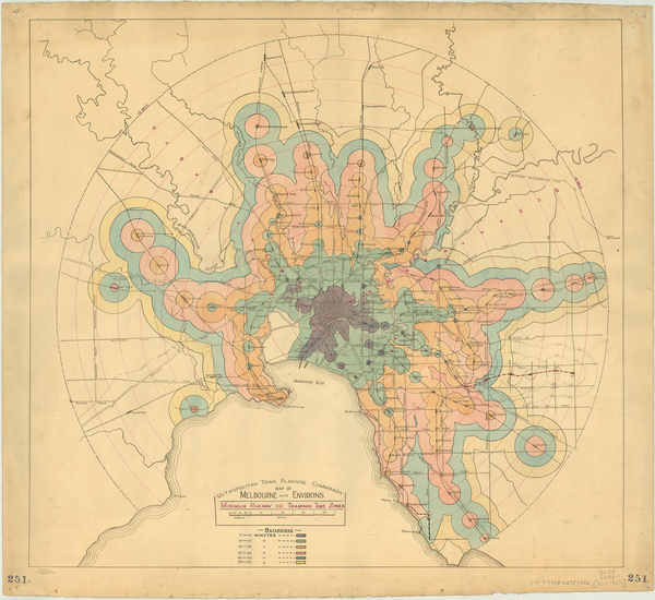 An isochrone from the 1920's illustrating travel times by train.