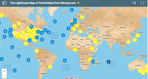 A Google map tracing overthinkers from around the world.