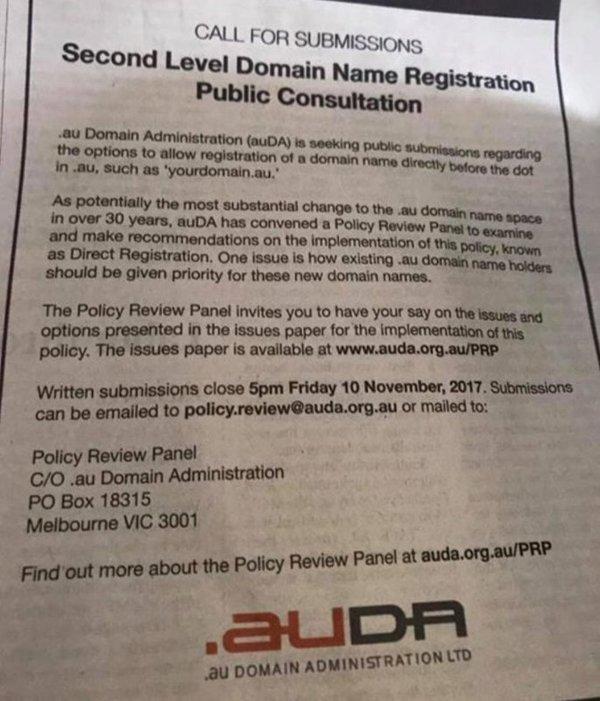 .au domain names?