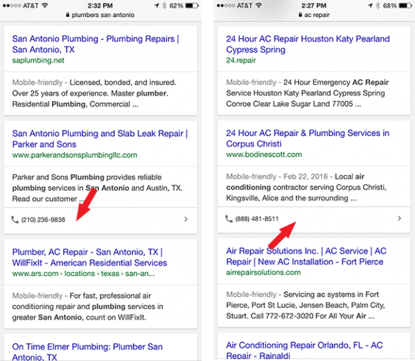 Google Organic Results Showing Phone Number Box