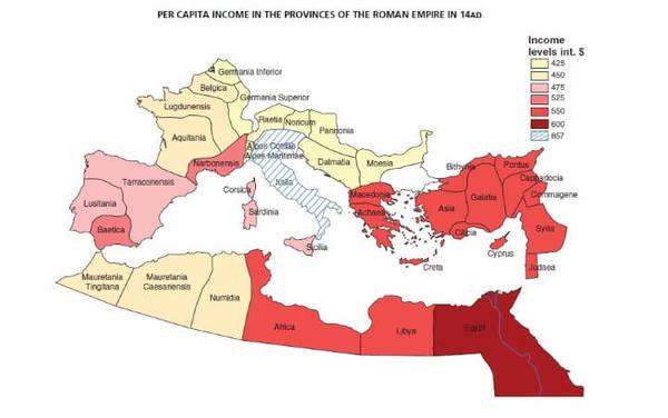 Per capita income in the provinces of the Roman Empire in 14 AD.