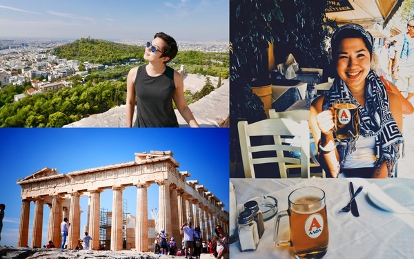 Shana in Athens, and the Parthenon on top of the Acropolis