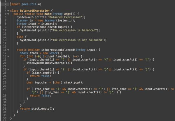 Java implementation of BalancedExpression