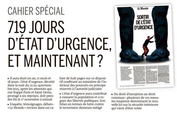 De voorpagina van Le Monde vanavond