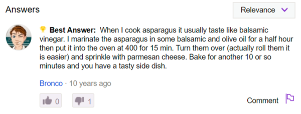 That avatar says it all. Bronco slides into the comments (and is voted best answer!) with a note that is somehow both unhelpful and also a recipe.