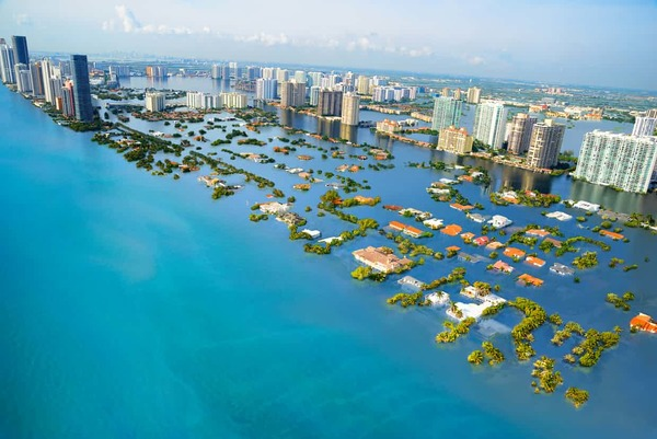 Miami after 3℃ sea level rise. Photo: The Guardian/Climate Central