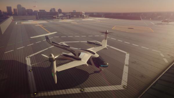 Flying car mockup for Uber Air