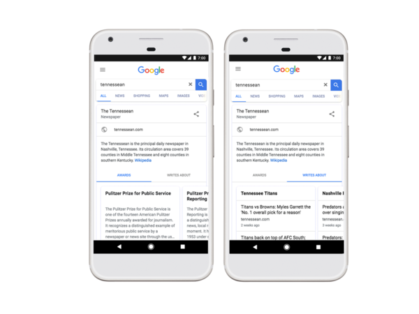 Google Introduces News Publisher KG Cards