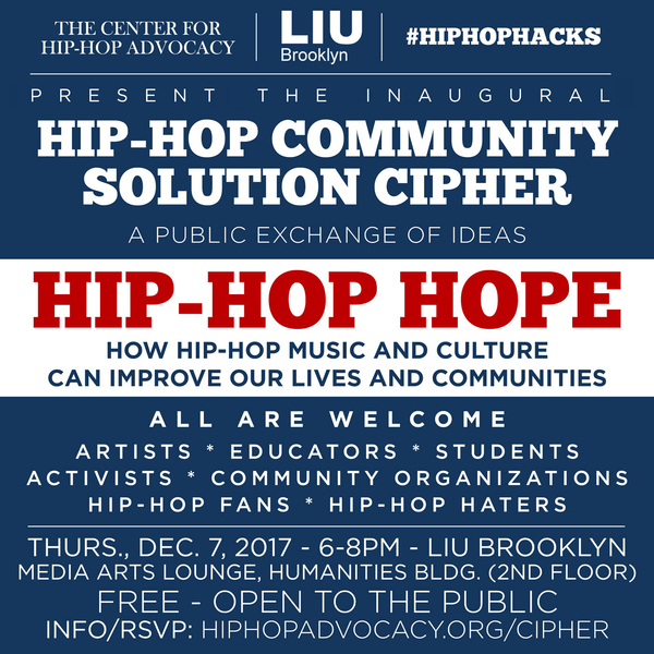 Come cipher with us on December 7 at LIU Brooklyn!
