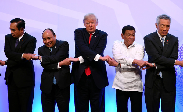President Trump op de ASEAN-top in Manilla (foto: Reuters)