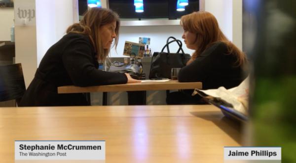 Screenshot van geheime opnames die de Washington Post maakte van een gesprek met Project Veritas-activiste Jaime Phillips