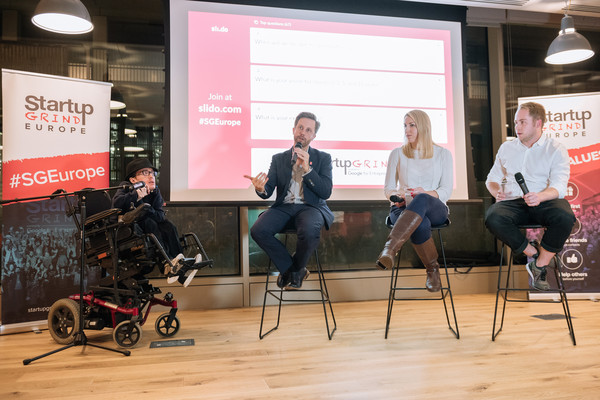 Me, Tom Blomfield, Megan Caywood, and Barnaby Hussey-Yeo on stage at Startup Grind London (Credit: Startup Grind)