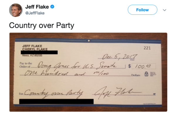 Tweet van senator Jeff Flake