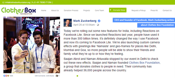 Mark Zuckerberg's Message for Clothes Box Foundation