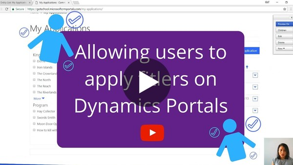 Allowing users to apply filters in Dynamics Portals - YouTube