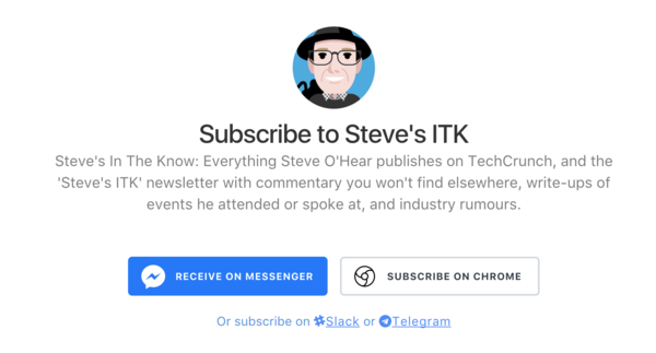Subscribe to 'Steve's ITK' via Facebook Messenger and more