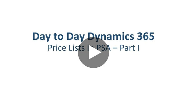 Dynamics 365 Project Service Automation: Price Lists - Part 1 - YouTube