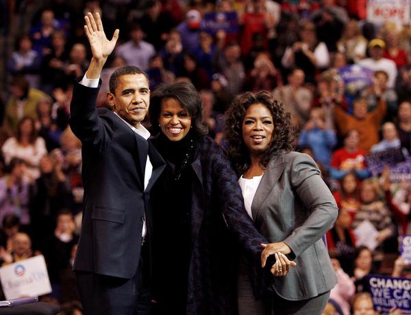 De Obamas en Oprah Winfrey in 2008 (foto: Reuters)