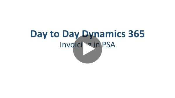 Dynamics 365 Project Service Automation - Invoicing - YouTube