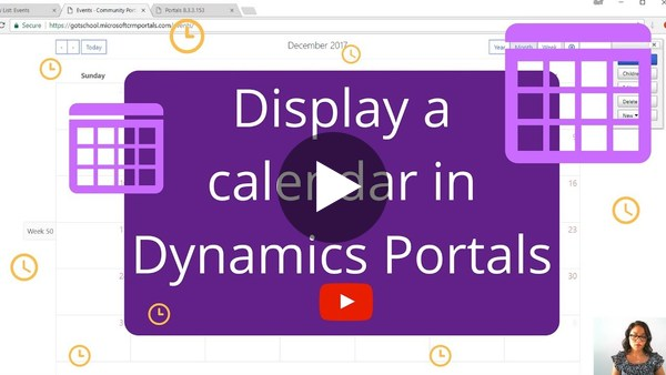 Allowing users to see a Calendar in Dynamics Portals - YouTube