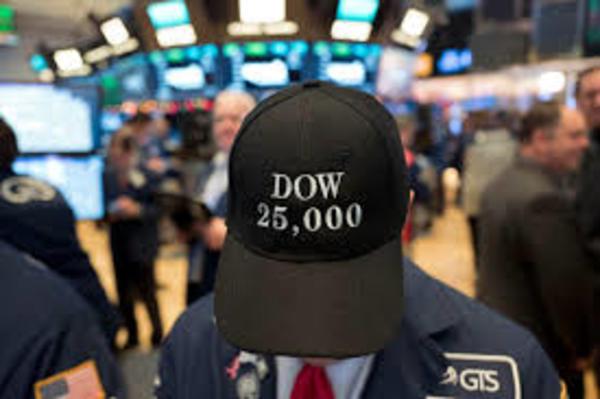 Op 4 januari brak de Dow Jones voor het eerst door de 25.000 puntengrens. Een paar weken later had de index alweer een nieuw record (foto: Reuters)