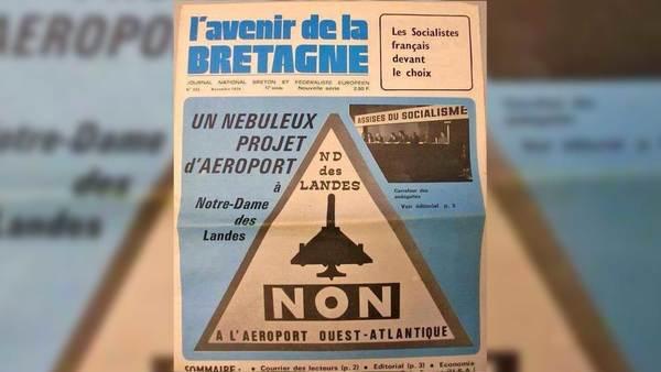 Een regionale kranten tegen de nieuwe luchthaven, in 1974