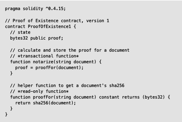 Smart Contract example in Solidity by Zepellin Solutions