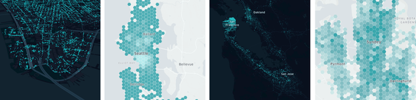 Scatter plots and Hex bins showing concentration of Uber trip activity.