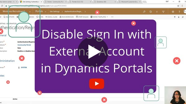 Disable Sign In with External Account for Dynamics Portals - YouTube