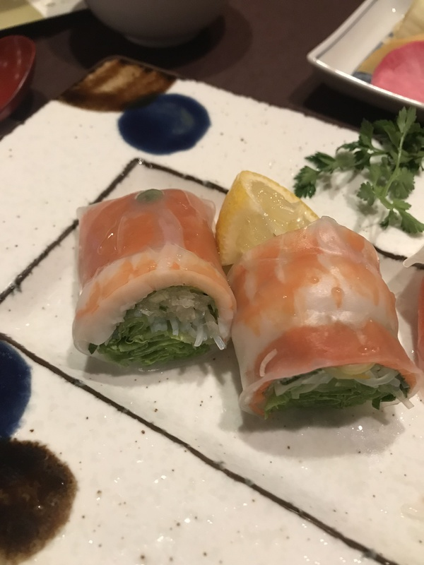 Lobster and salmon rolls