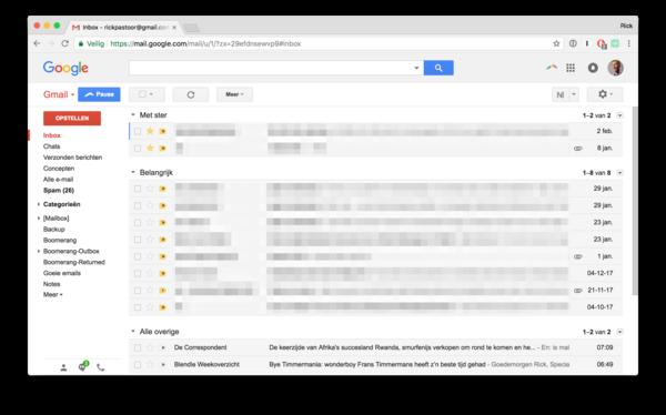 Je mailbox, ingedeeld op prioriteit. Bovenaan de e-mails met ster, gevolgd door de belangrijke en tenslotte alle overige e-mails.