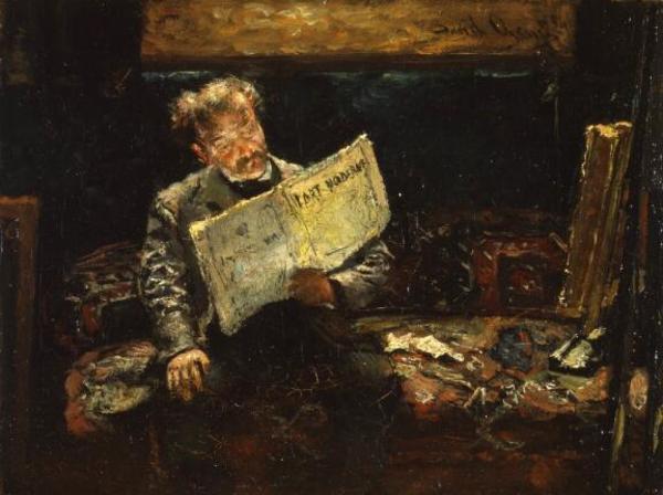 'Kunstenaar in zijn atelier leest l'Art Moderne' Olieverf op doek: David Oyens