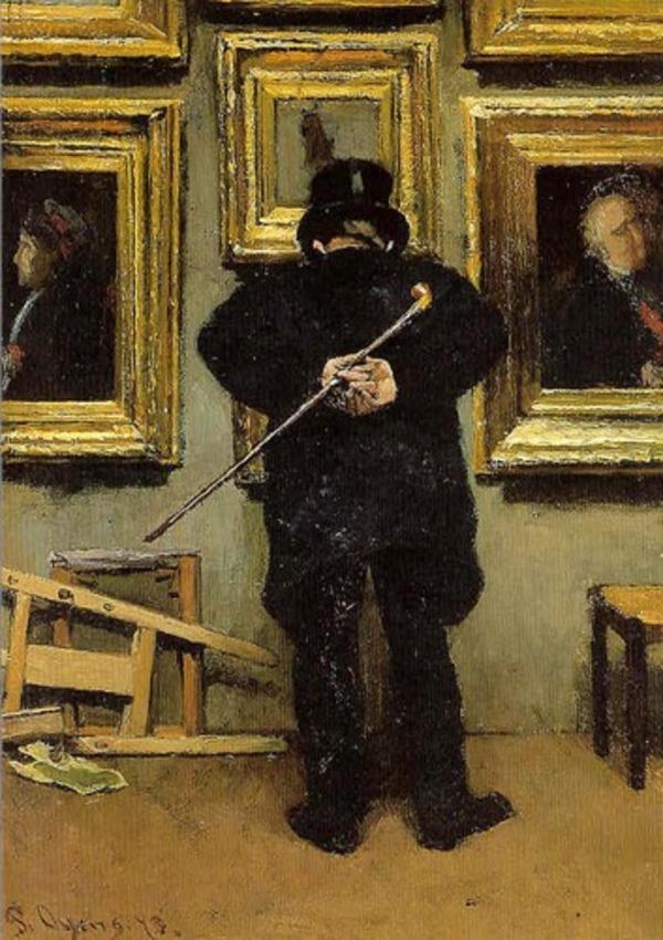 'De schilderijenliefhebber' - Olieverf op doek: Pieter Oyens