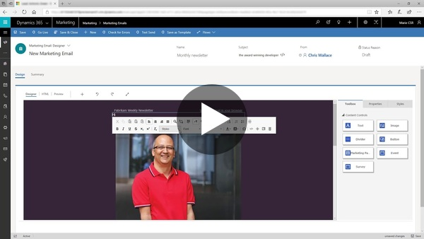 Design marketing emails with Dynamics 365 for Marketing - YouTube