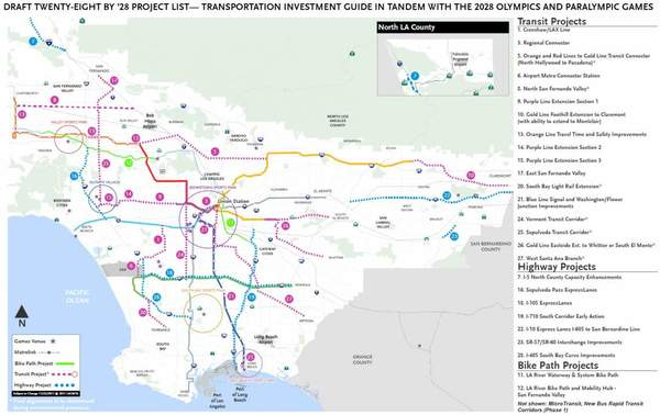 28 projects LA wants to complete before 2028 Olympics.