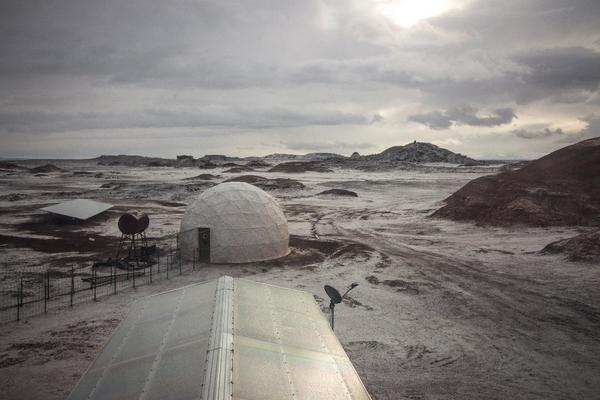 "A sprinkling of snow on ""Mars"", the Mars Desert Research Station in Utah"