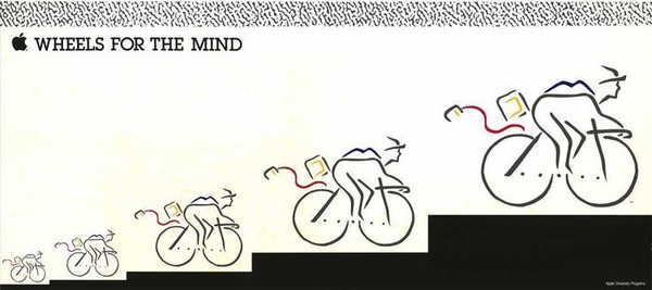 """Wheels for the Mind"" Apple Poster, 1980"