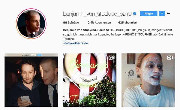 Benjamin von Stuckrad-Barre auf Instagram