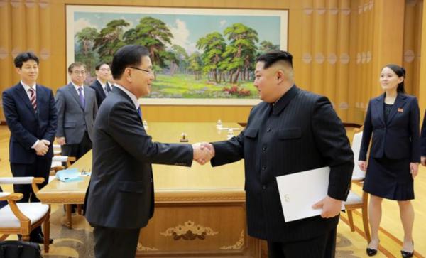 De Noord-Koreaanse leider Kim Jong-un ontving dinsdag een Zuid-Koreaanse delegatie in Pyongyang (foto: KCNA)