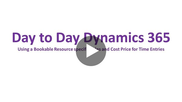 D365 PSA - Bookable Resource specific Sales and Cost Prices - YouTube