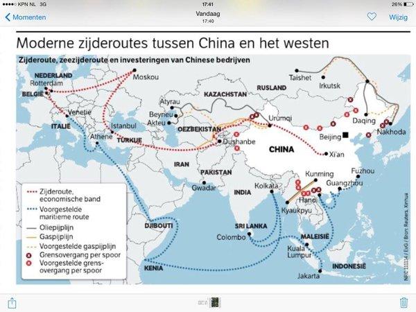 Langs de lijnen van de oude zijderoute verschuift de macht van west naar oost.