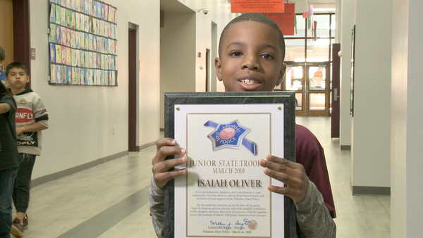 "Adopted foster child wins inaugural Arkansas State Police award because of ""service heart"""