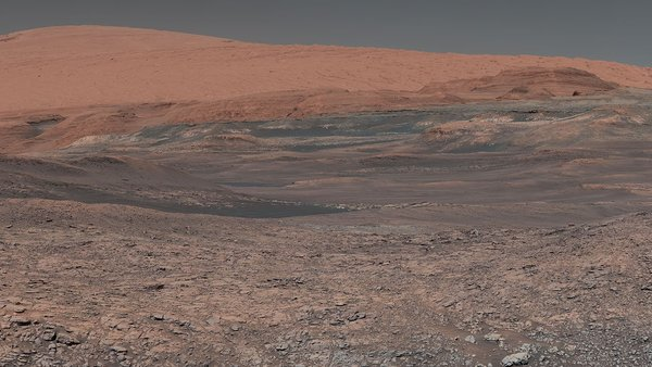 NASA's Mars Curiosity rover looks uphill at Mount Sharp