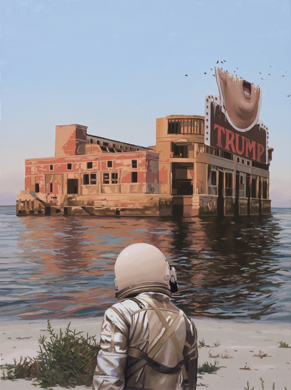 Scott Listfield's pop culture paintings of an astronaut exploring a future Earth