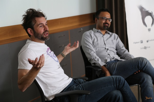 Zooko with Gautam Seshadri of ZPX at a fireside chat hosted by Accel Partners