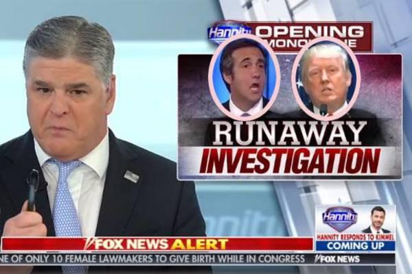 Fox News-presentator Sean Hannity haalt hard uit naar de FBI voor de inval bij Trumps advocaat Michael Cohen (foto: Reuters)