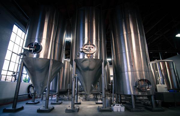 Fermentation tanks at 47 Hill Brewing in South San Francisco, CA