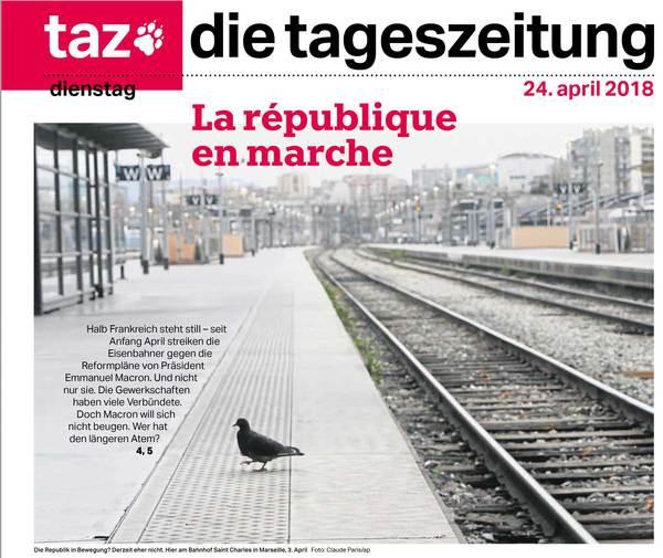 """Duits leedvermaak van het dagblad TAZ vandaag: """"Half Frankrijk staat stil"""""""