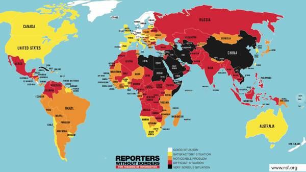 De kaart wordt steeds donkerder (bron: RSF)