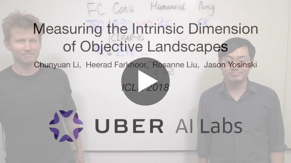 """Chunyuan Li and Jason Yosinski from Uber do a great job describing their ICLR 2018 paper """"Measuring the Intrinsic Dimension of Objective Landscapes"""". I hope we will see more of these explainer videos for scientific papers."""